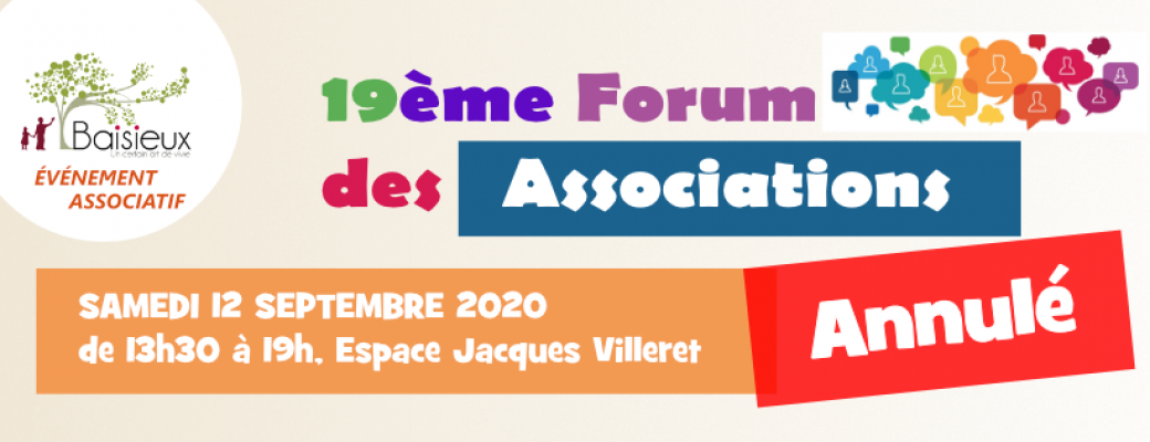 Annulation du forum des associations 2020